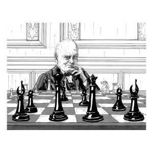 Chess Player - Churchill Collection by Zoom Rockman